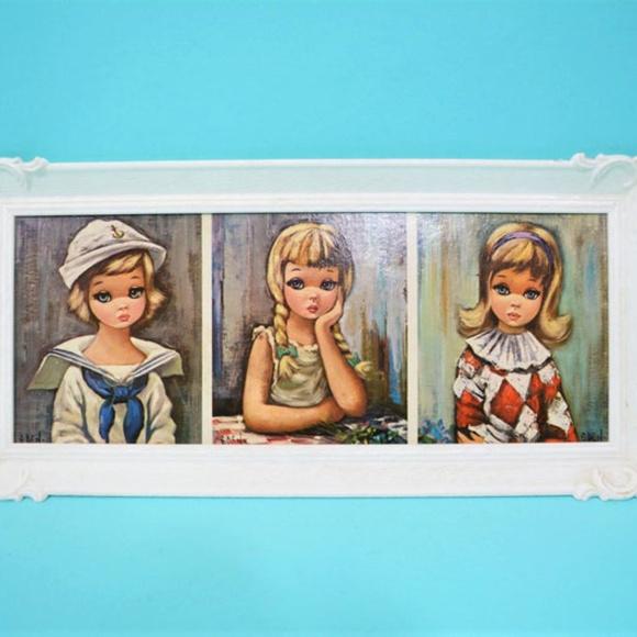Vintage Other - Vintage 1960s Eden Big Eyes Wall Art Frame